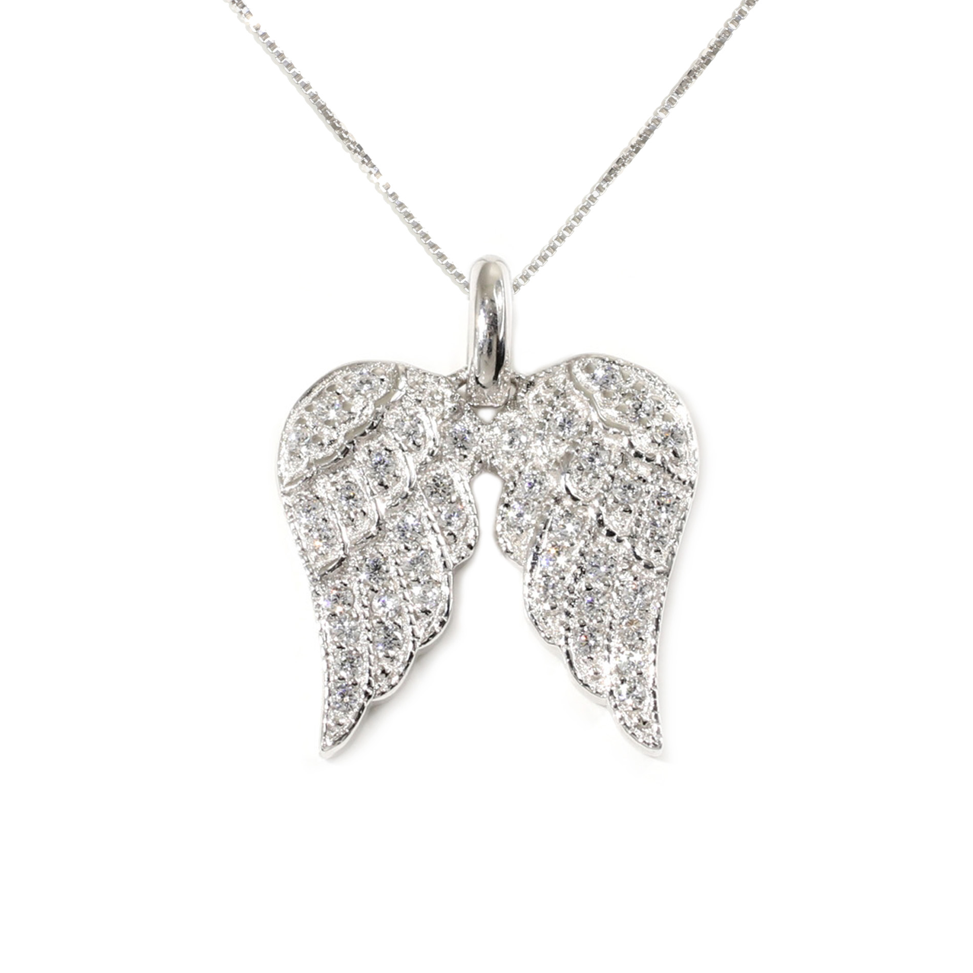 real wings necklace angel gold mainye solid pendant diamond