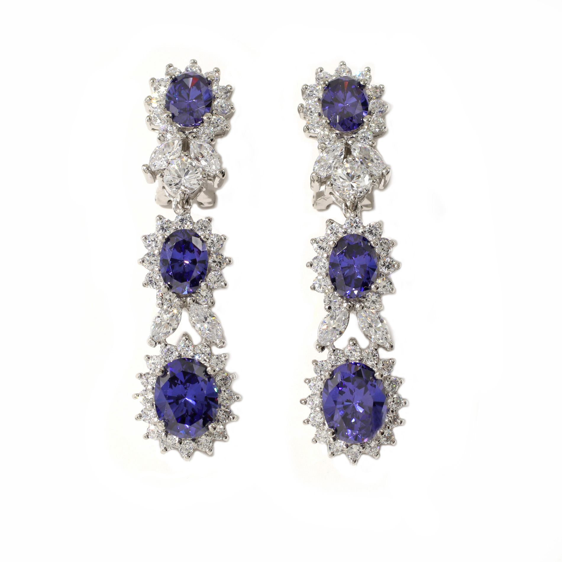 gold white triangle tanzanite earrings in