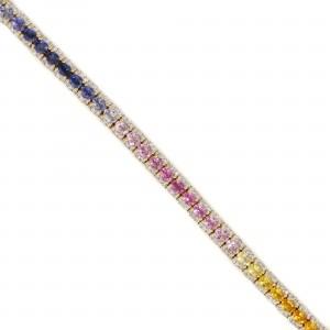 Rainbow Sapphire & Diamond Tennis Bracelet