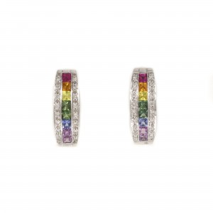 Rainbow Half Hoop Earrings