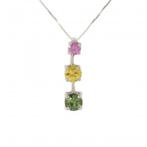 Three Stone Sapphire Pendant