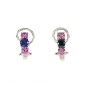 Three Stone Sapphire Earrings