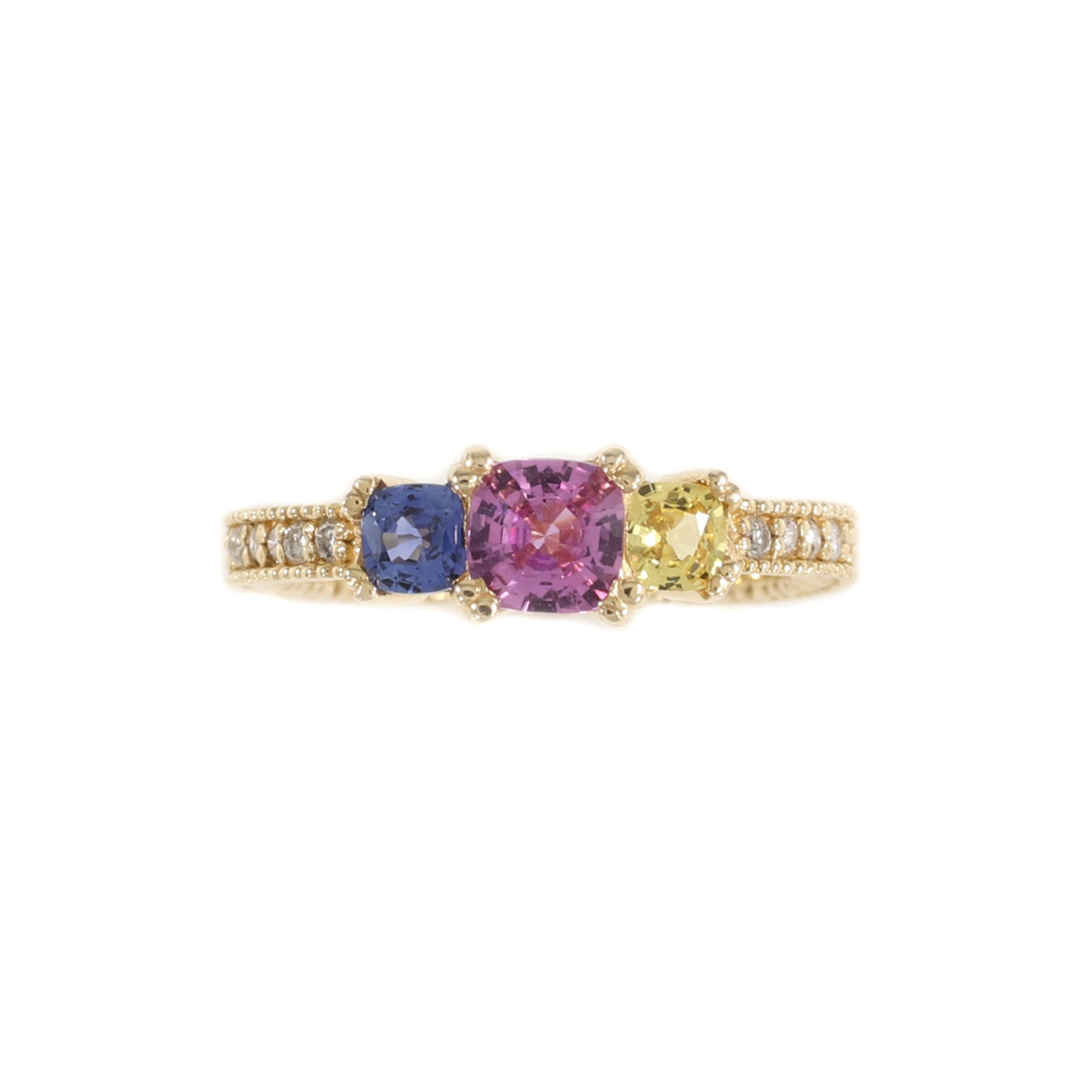 Vivid Three Stone Sapphire & Diamond Ring