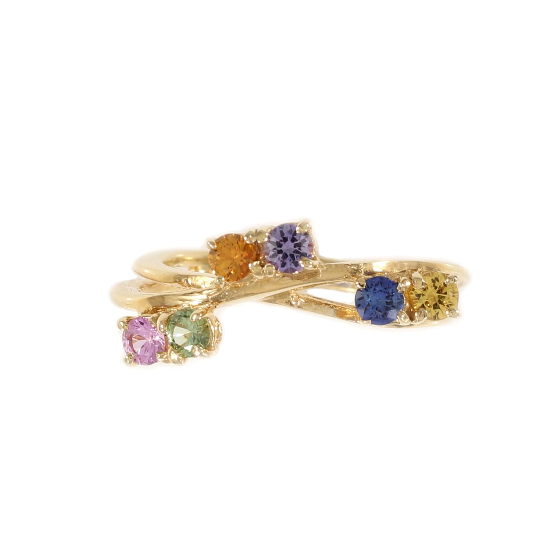 Rainbow Sapphire Vine Ring