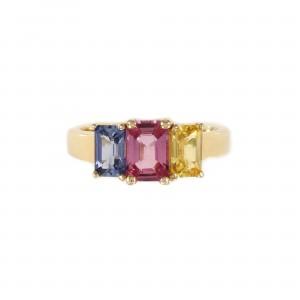 Vivid Three Stone Sapphire Ring