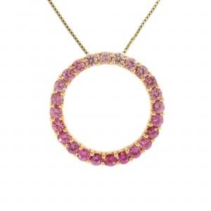 Graduated Pink Sapphire Circle Pendant