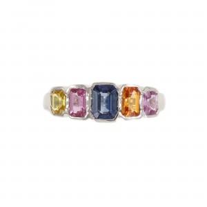 Five Stone Rainbow Sapphire Ring