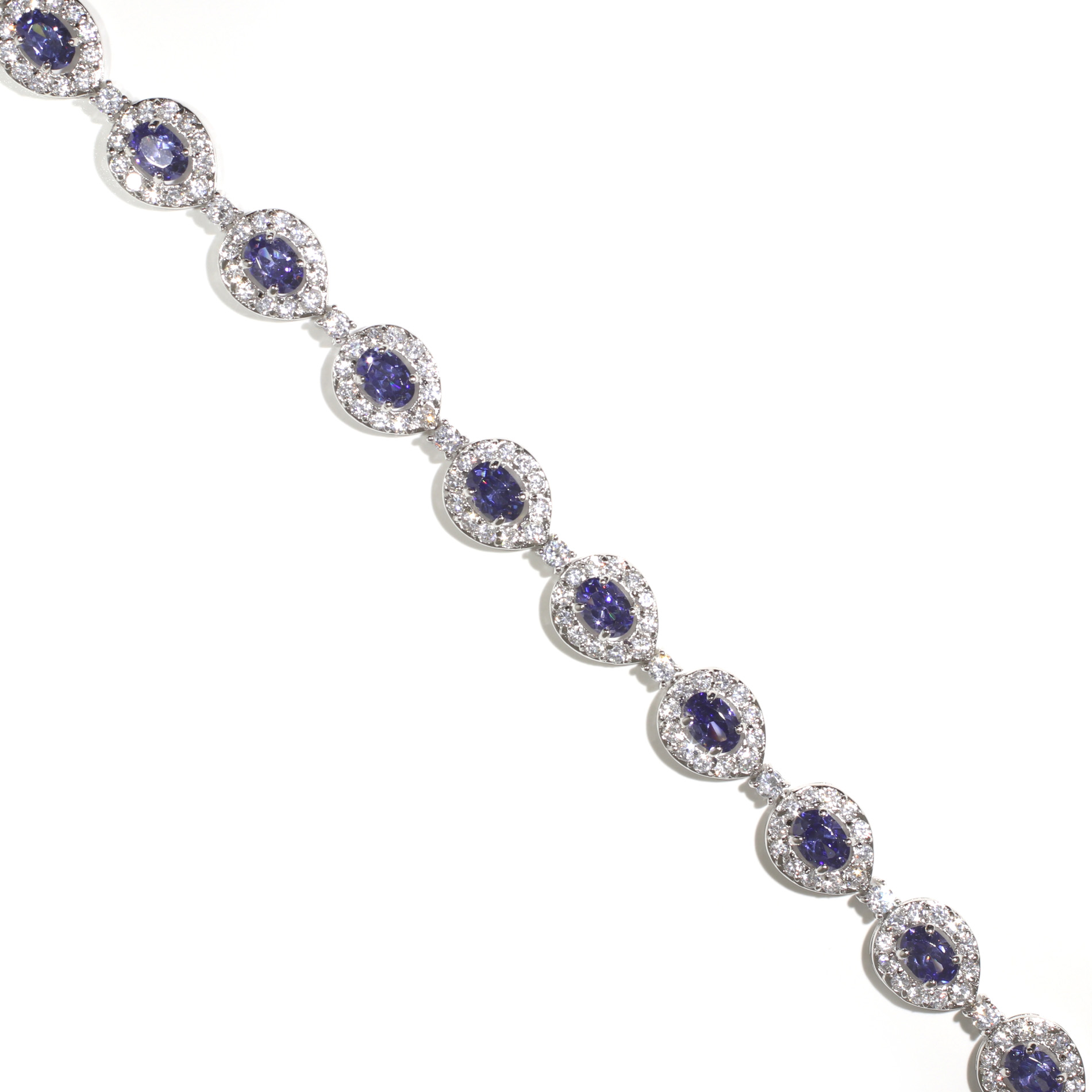 Tanzanite Peacock Halo Bracelet