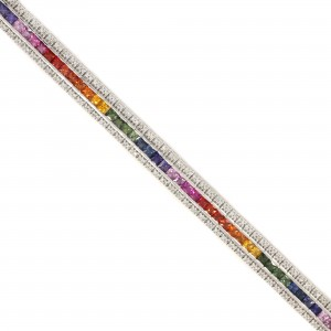 Rainbow Sapphire & Diamond Bracelet