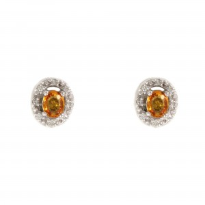 Golden Sapphire Halo Earrings