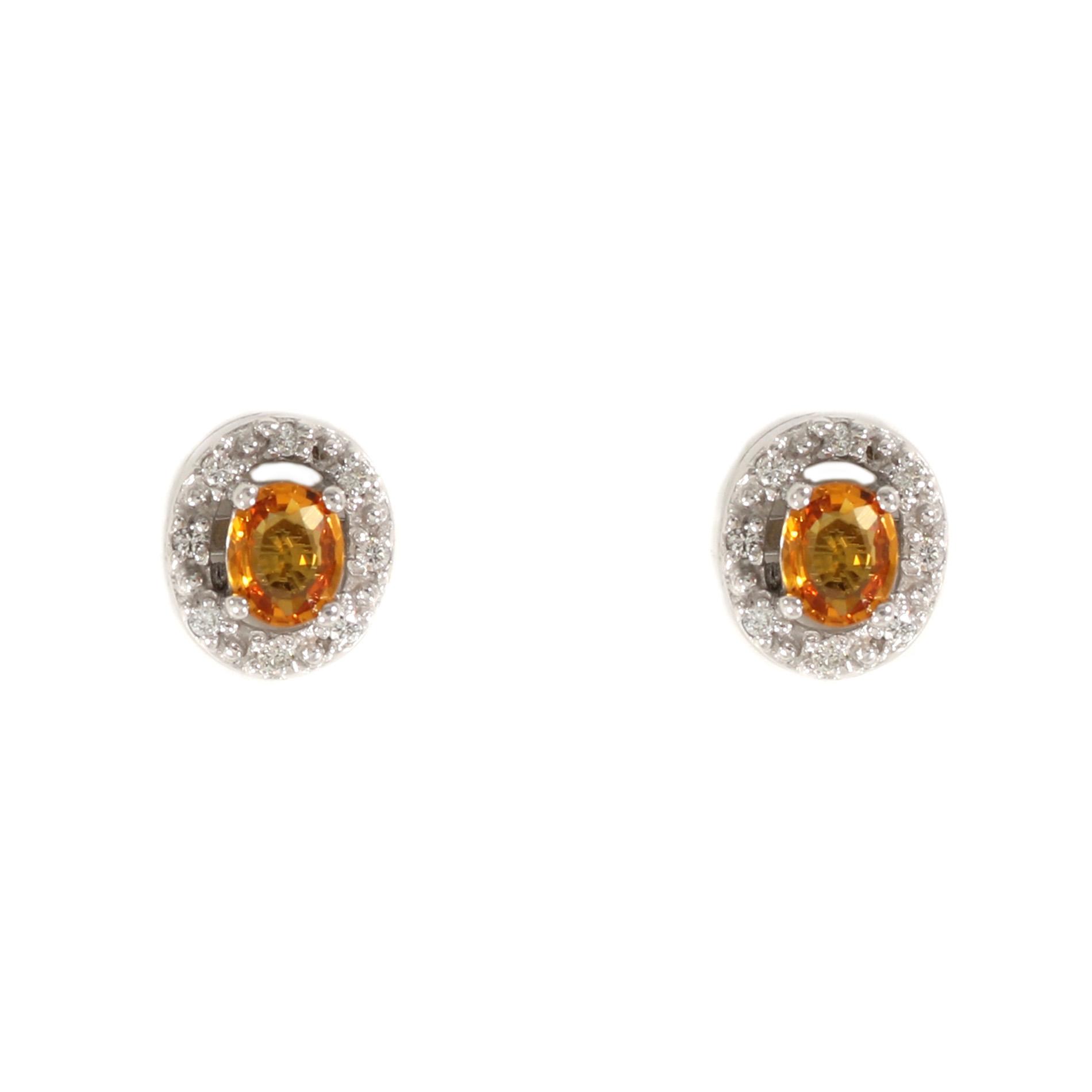 Golden Sapphire Halo Earrings