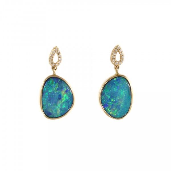Boulder Opal & Diamond Drop Earrings 1
