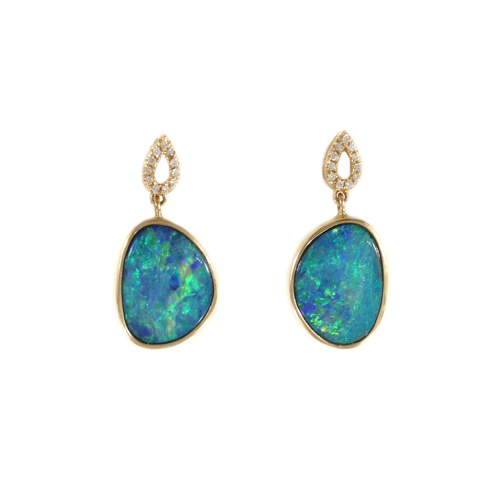 Boulder Opal & Diamond Drop Earrings