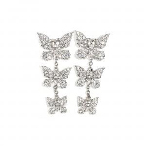 Pavé Butterfly Drop Earrings