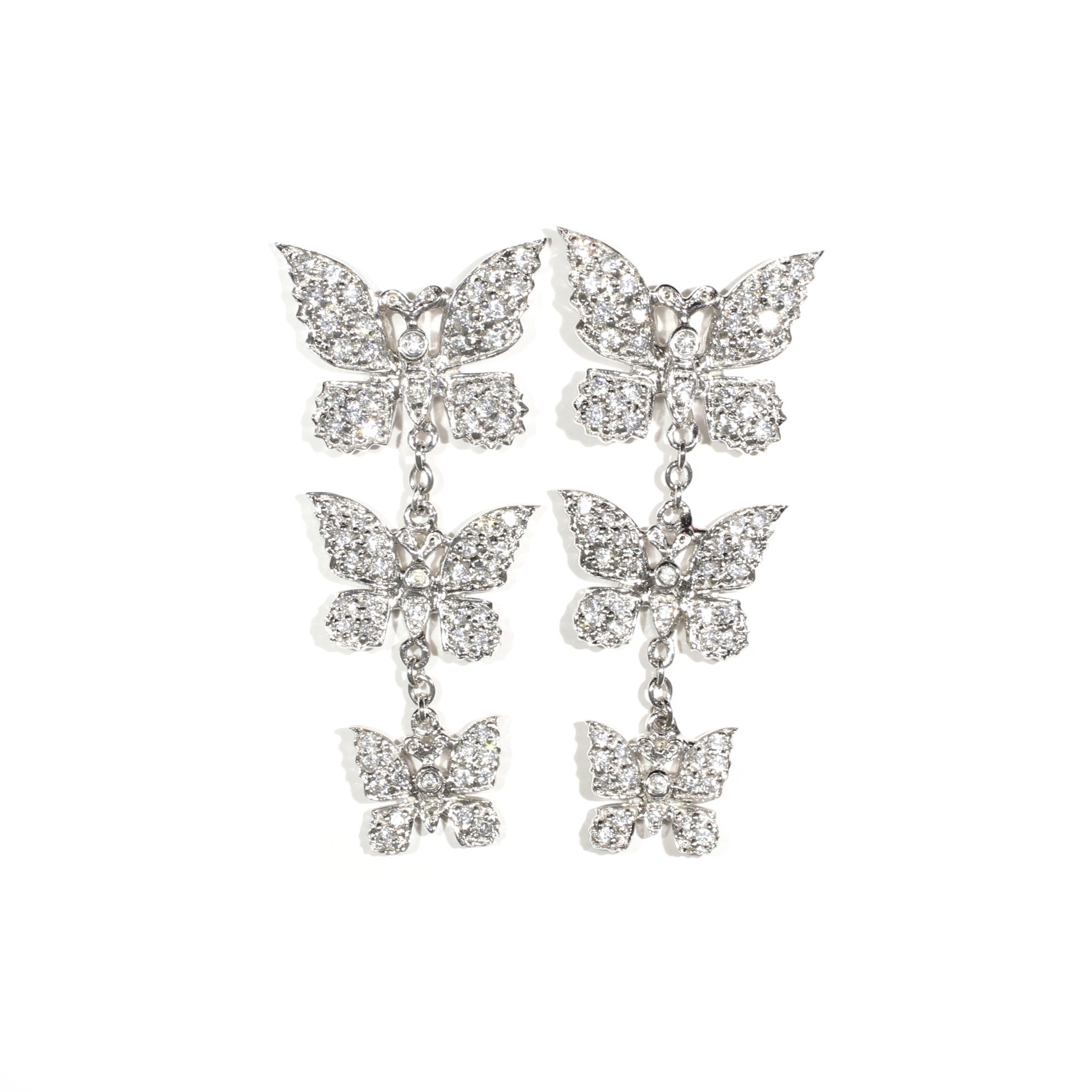 Pavé Butterfly Drop Earrings