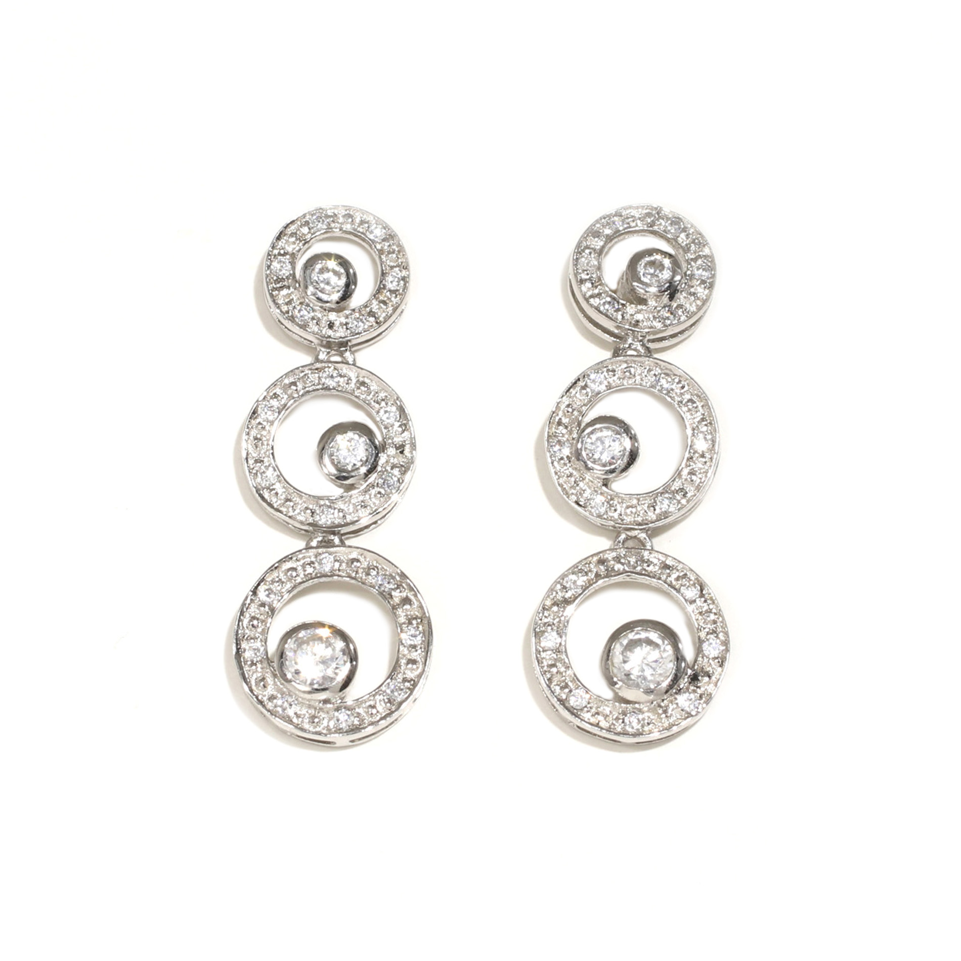 Triple Halo Drop Earrings