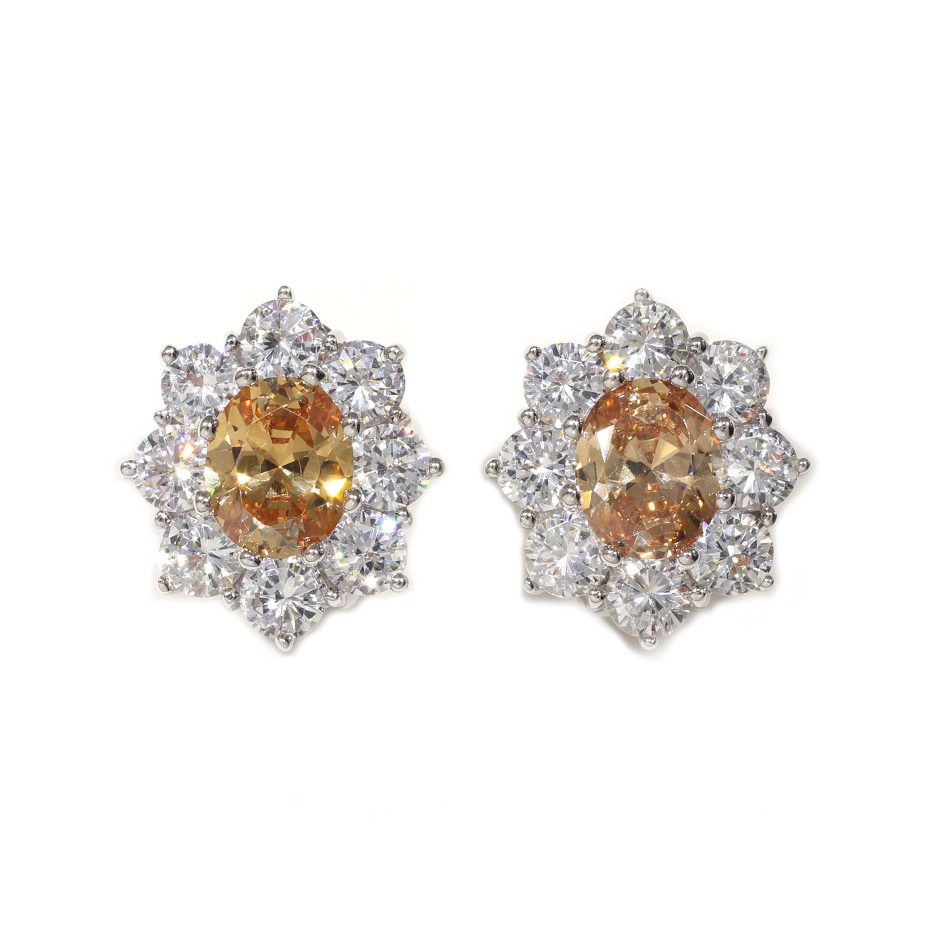 Large Champagne Halo Earrings