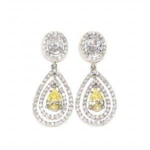 Double Halo Canary Drop Earrings