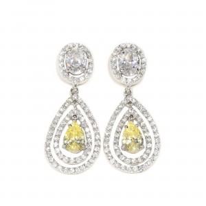 Double Halo Canary Drop Earrings