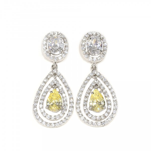 Double Halo Canary Drop Earrings 1