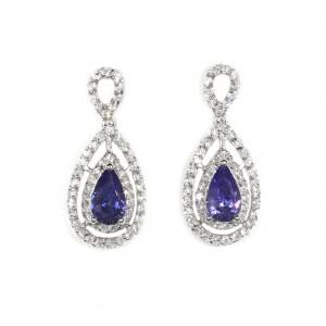 Double Halo Tanzanite Drop Earrings