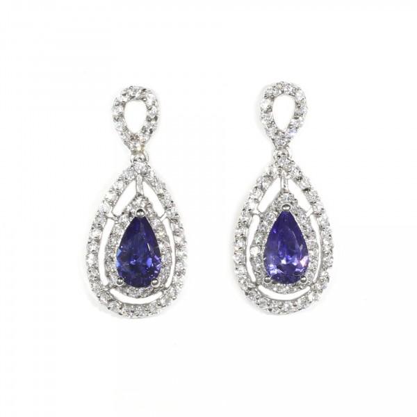 Double Halo Tanzanite Drop Earrings 1