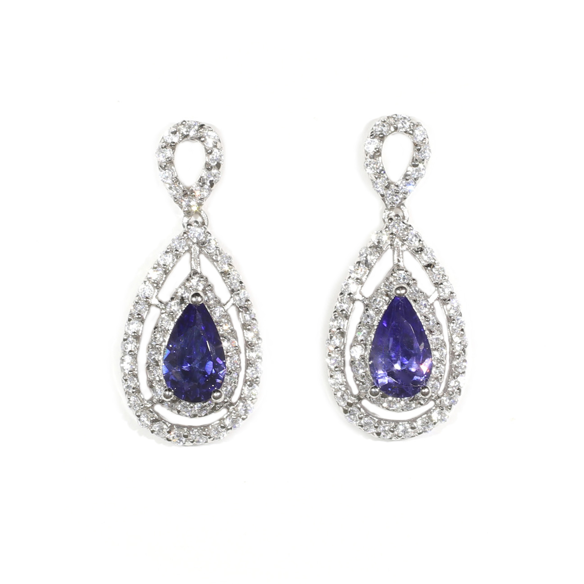 Double Halo Tanzanite Drop Earrings