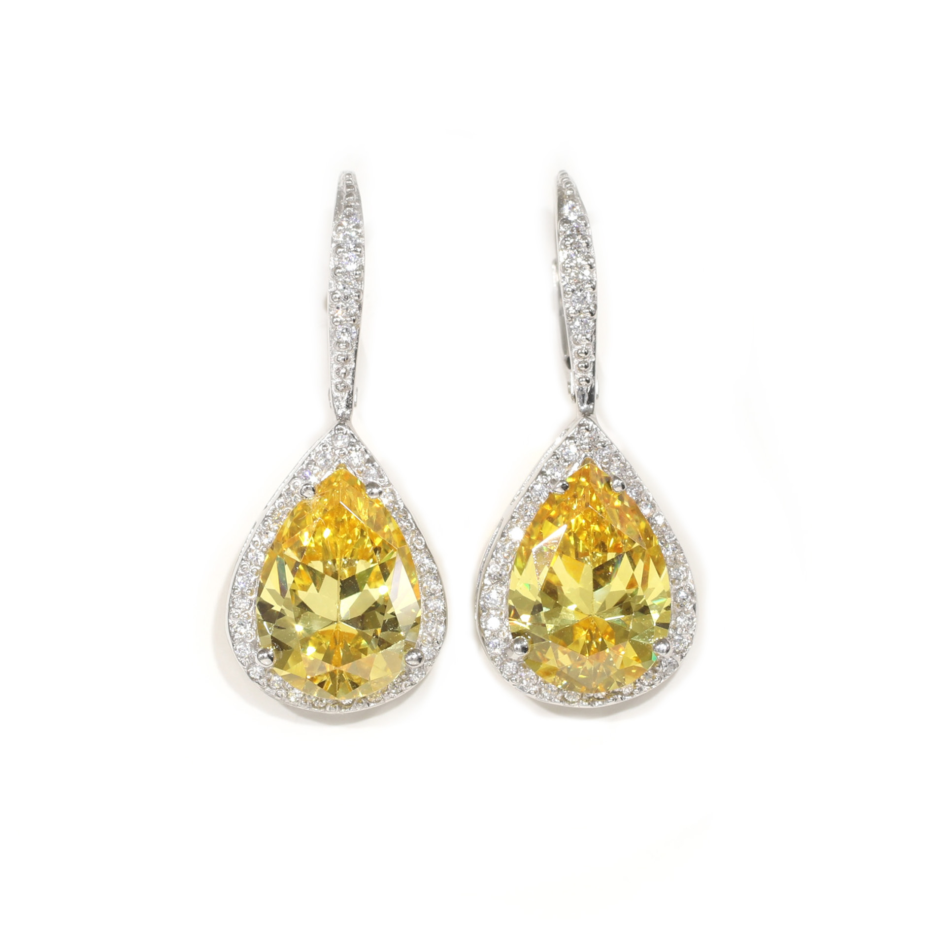 Large Canary Pear Leverback Earrings