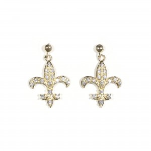Pavé Fleur De Lis Earrings