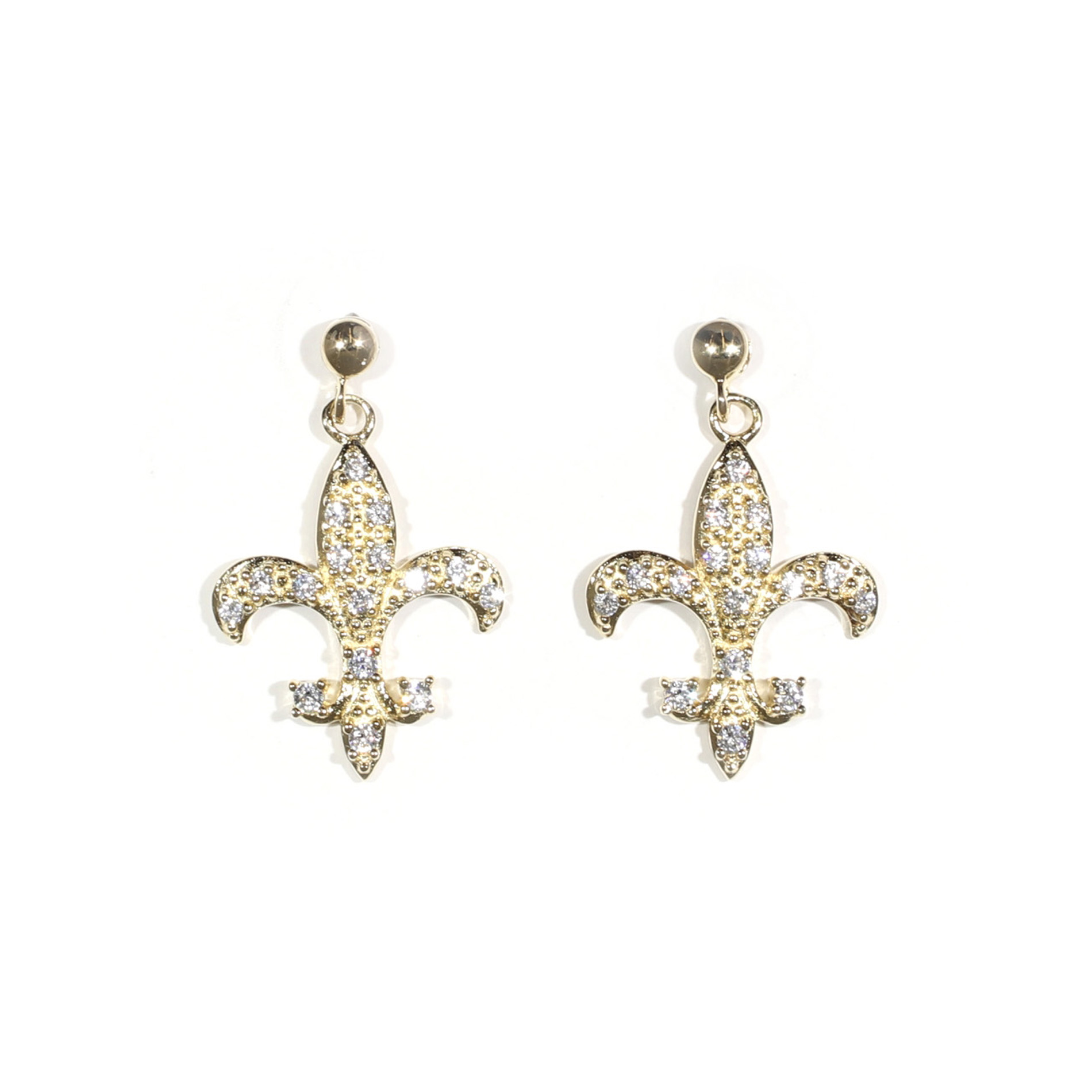 Pavé Fleur De Lis Earrings