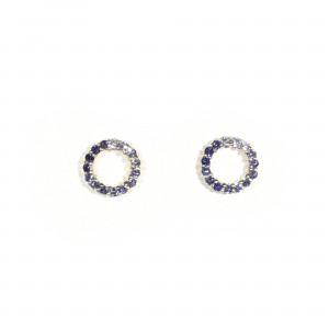 Graduated Sapphire Circle Earrings