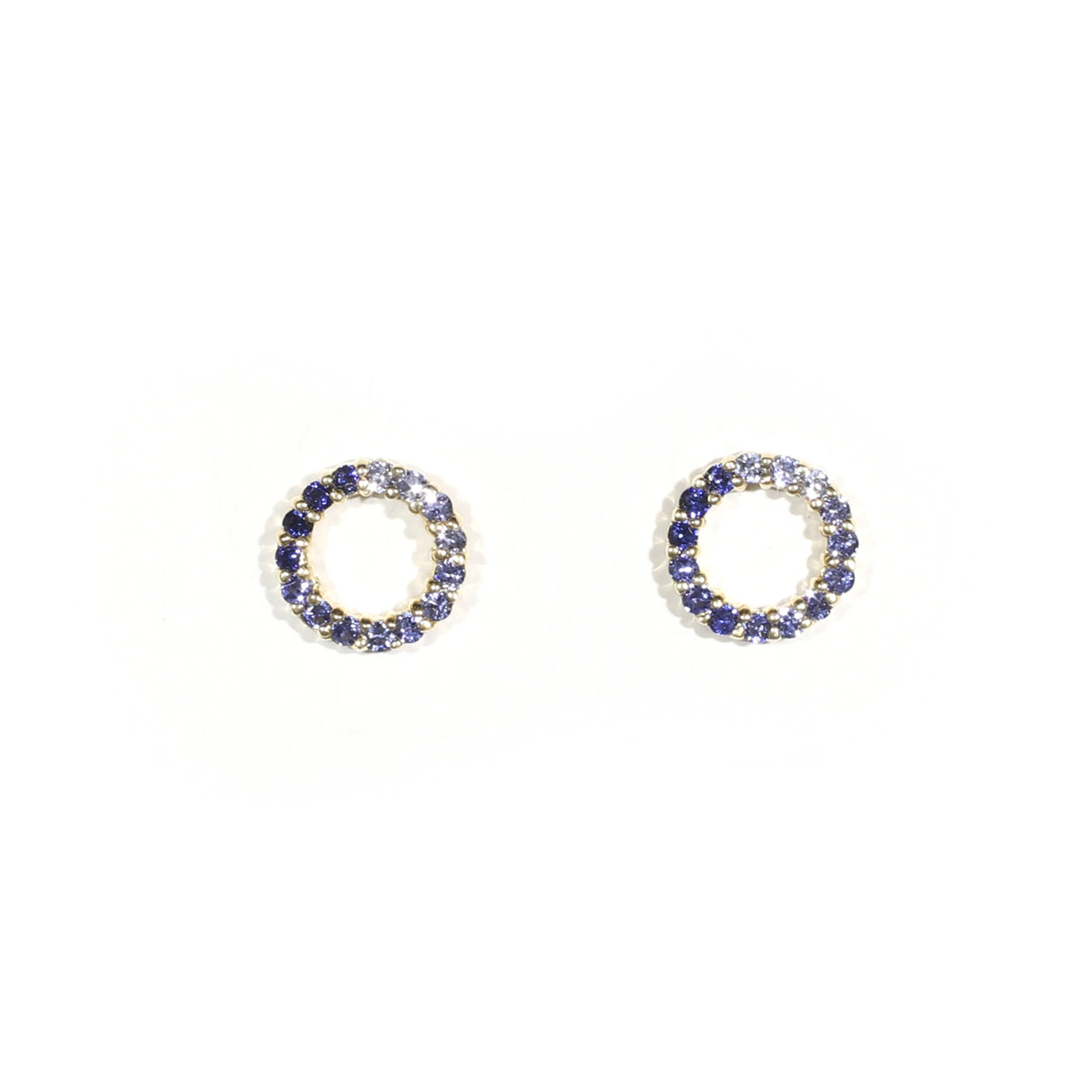 Graduated Sapphire Circle Earrings