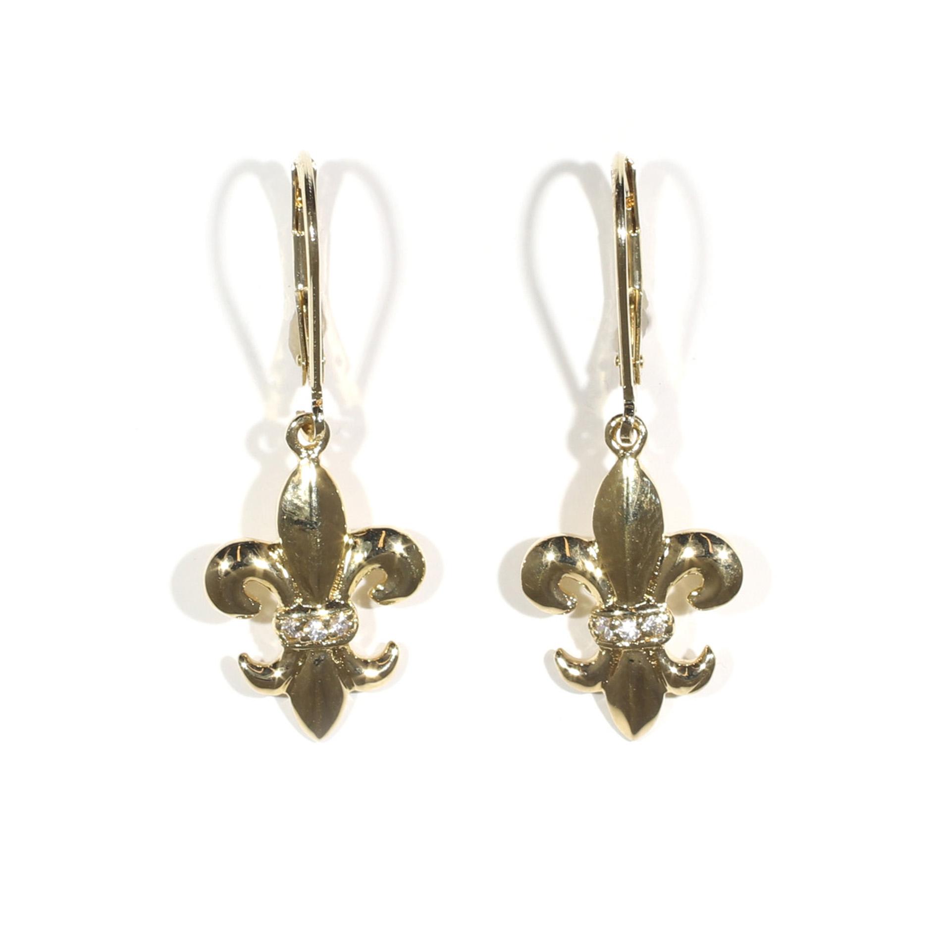 High Polish Fleur De Lis Leverback Earrings