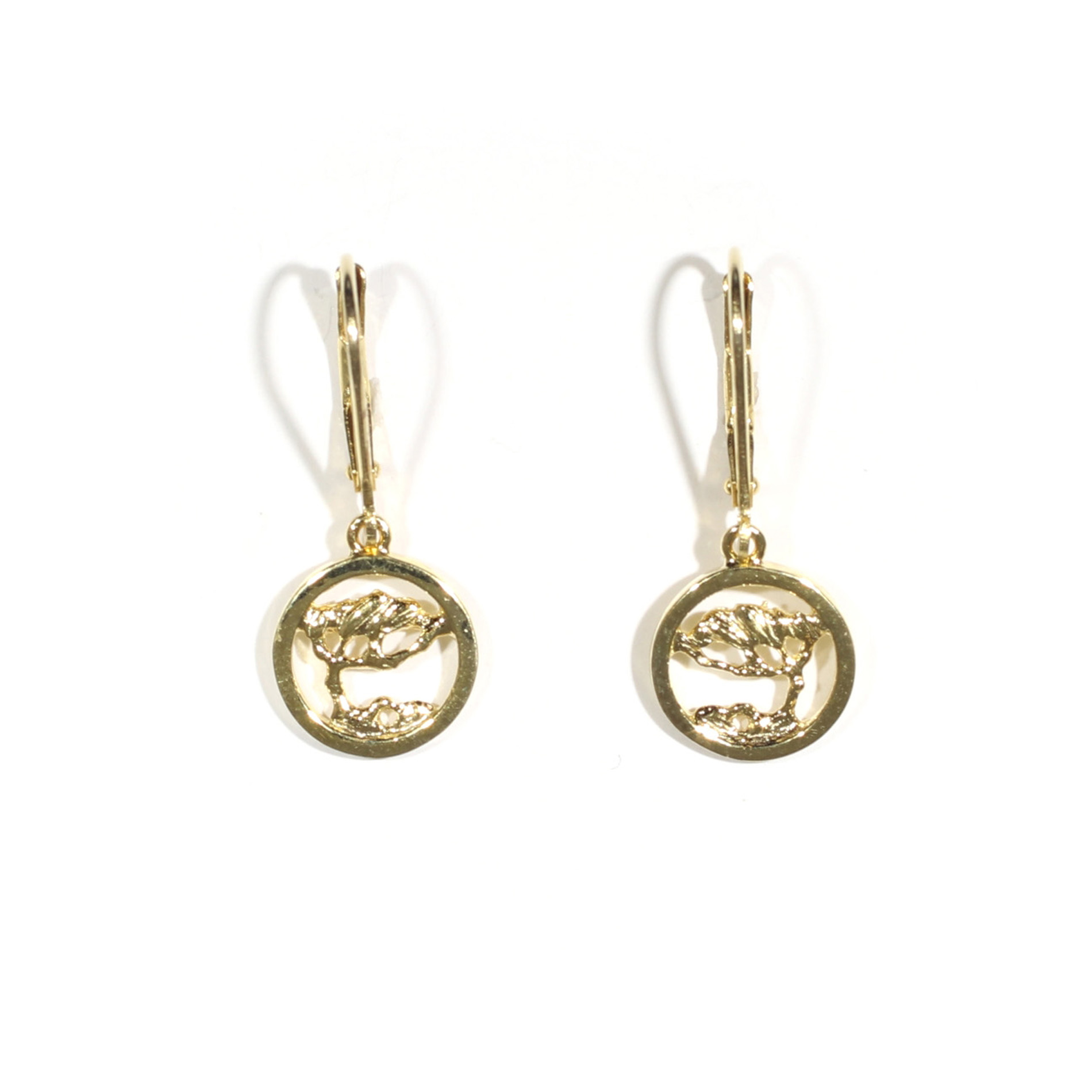 Small Cypress In A Circle Leverback Earrings
