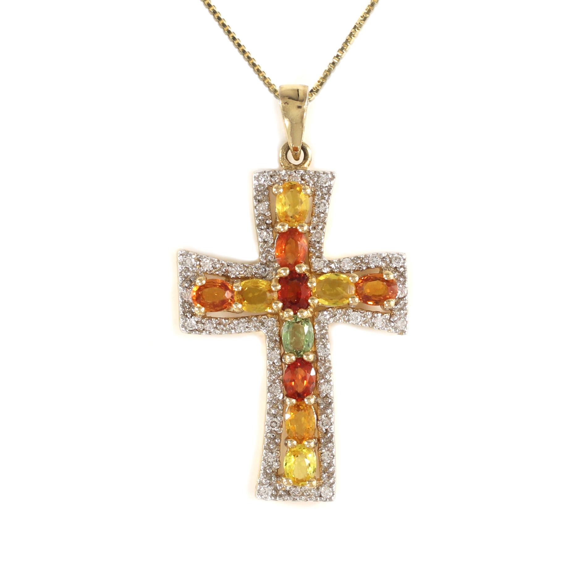 Sunset Sapphire Halo Cross Pendant