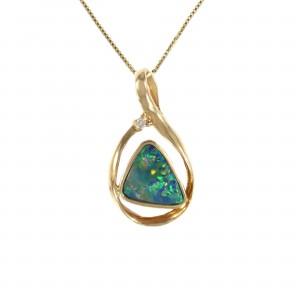 Boulder Opal With Diamond Accent Pendant