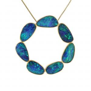 Boulder Opal Circle Pendant