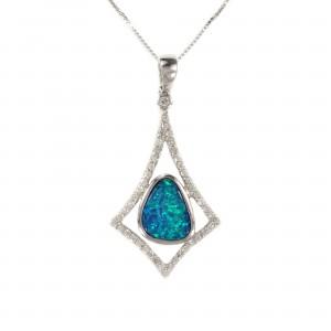 Geometric Diamond And Boulder Opal Pendant
