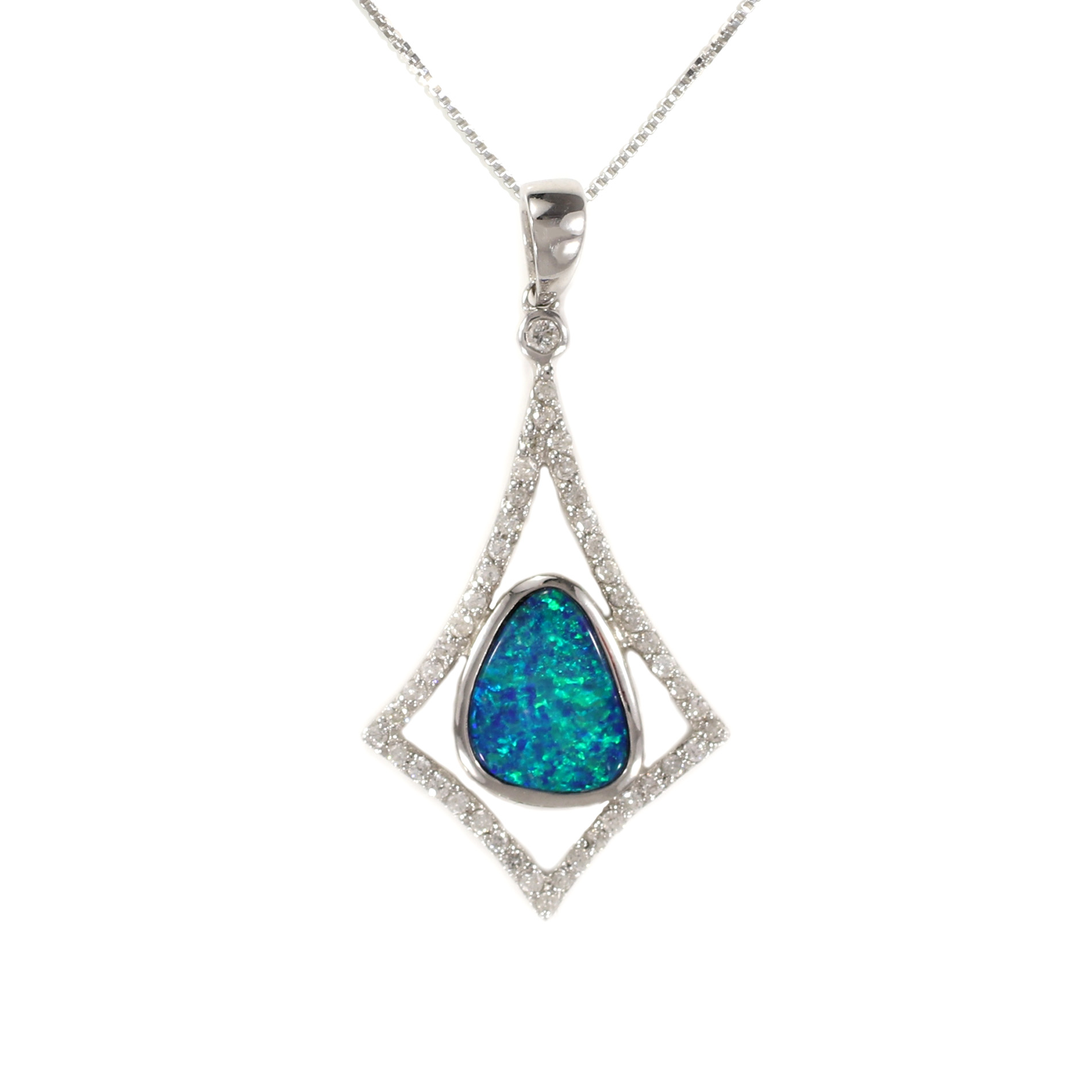 Geometric Diamond And Boulder Opal Pendant