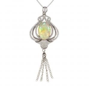 Art Deco Crystal Opal Pendant