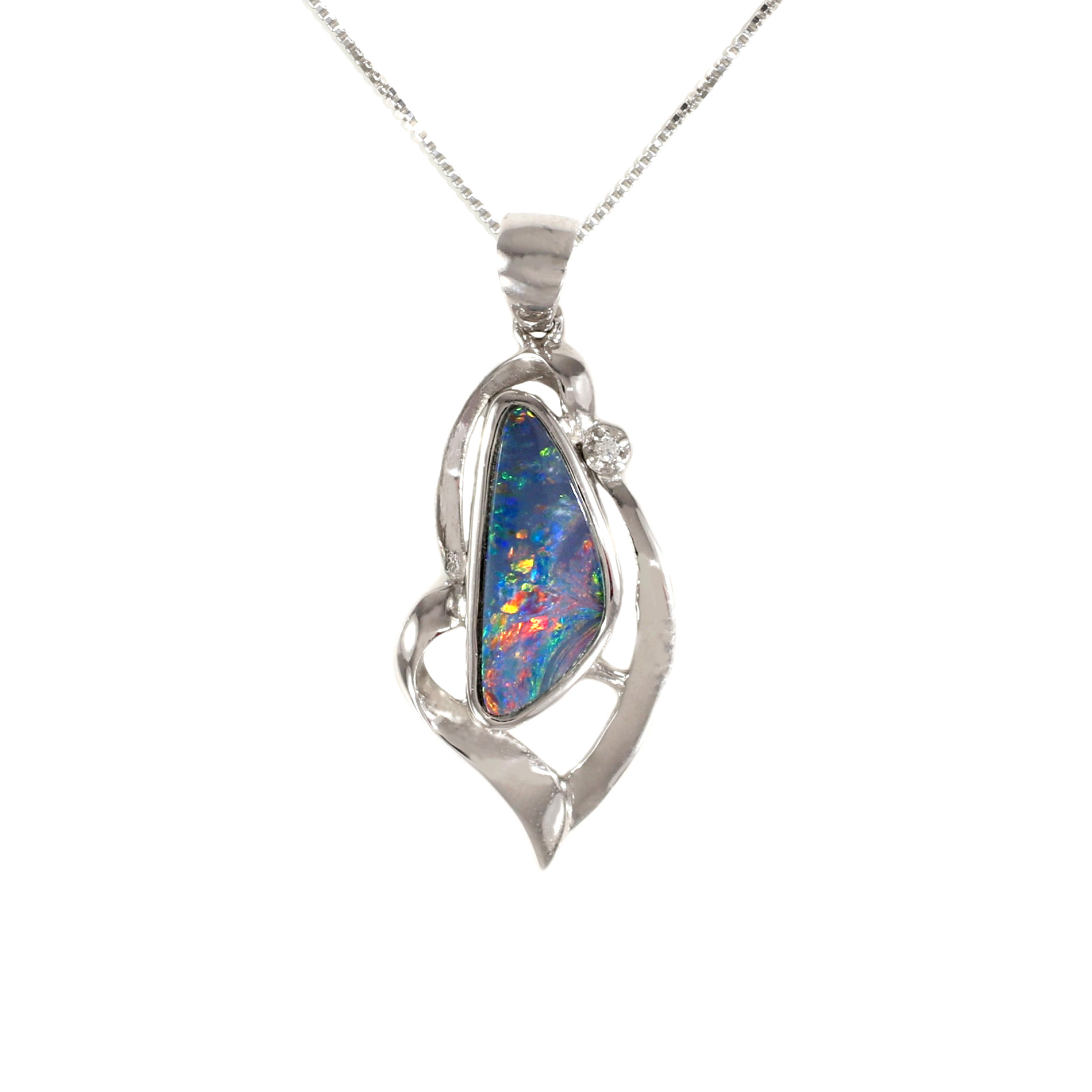 in opal pendant necklace boulder sterling silver