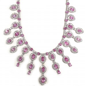Pink Sapphire Chandelier Necklace