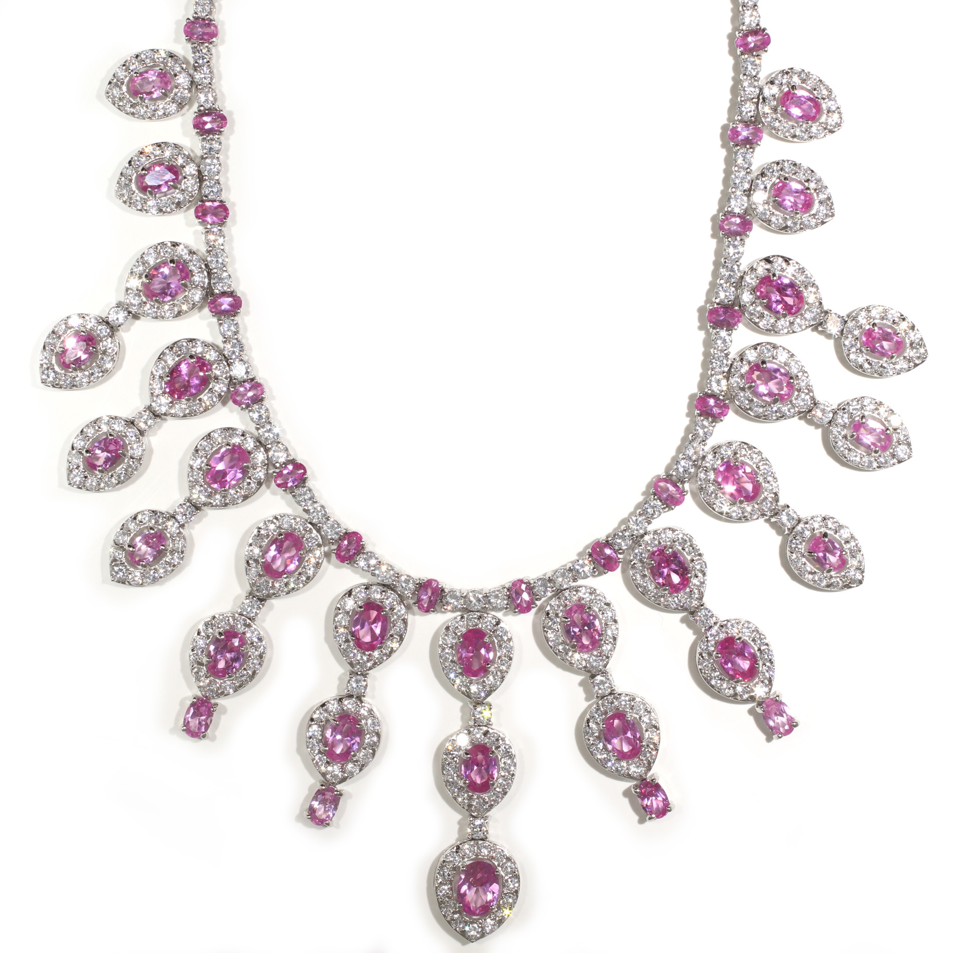 two necklace product gold tennis diamond pink raton sapphire boca and tone