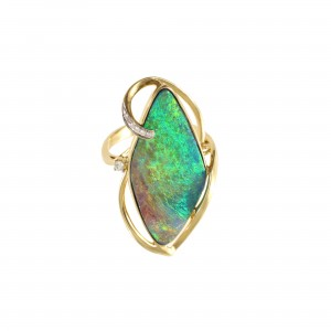 Boulder Opal and Diamond Ring