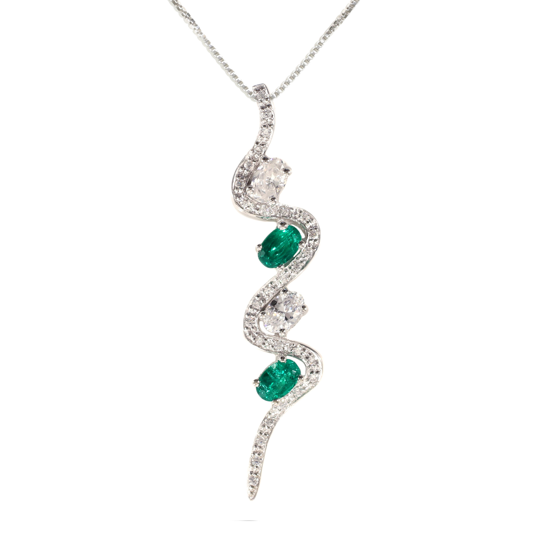 Emerald Platinique Swish Pendant