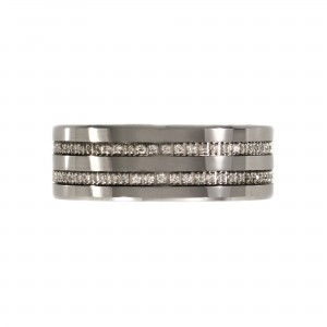 Tungsten Mens Ring with Cubic Zirconia
