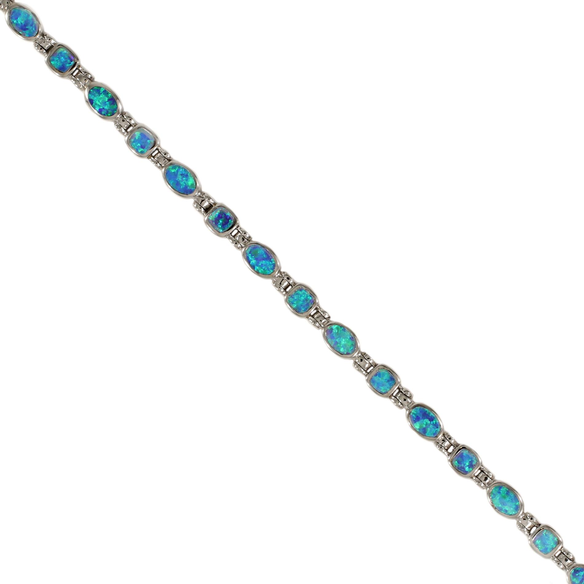 Delicate Sterling Silver Opal Bracelet